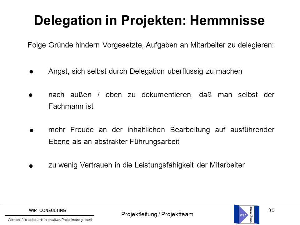 Delegation in Projekten: Hemmnisse
