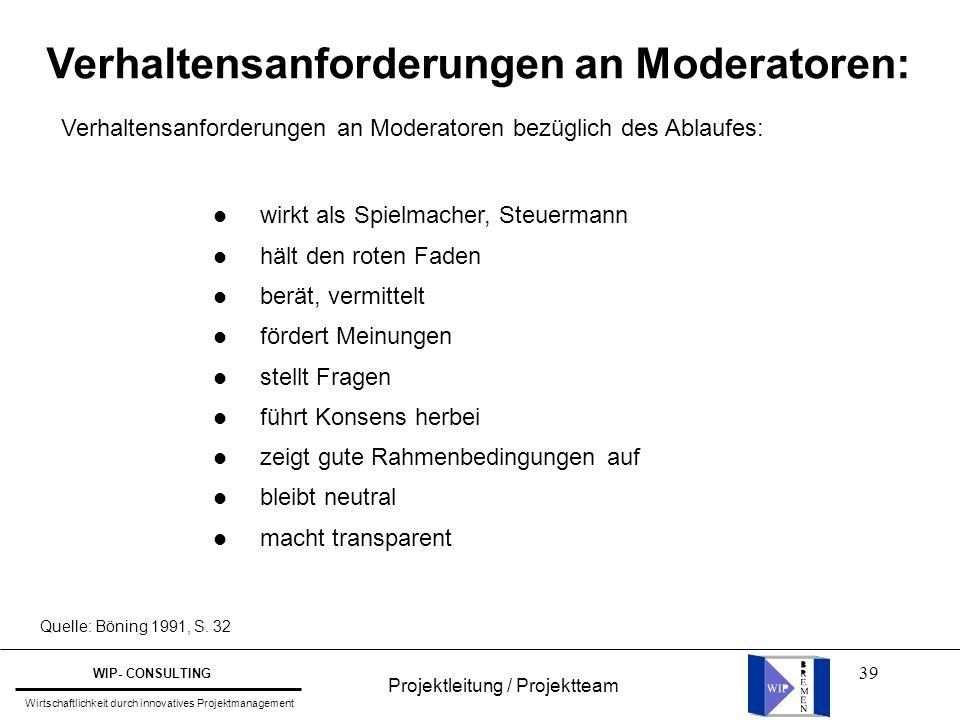 Verhaltensanforderungen an Moderatoren:
