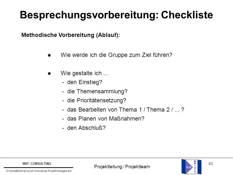 Besprechungsvorbereitung: Checkliste