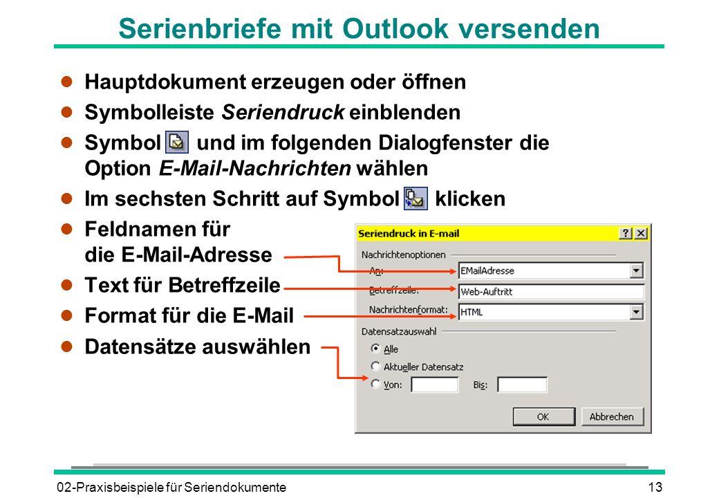 Serienbriefe mit Outlook versenden