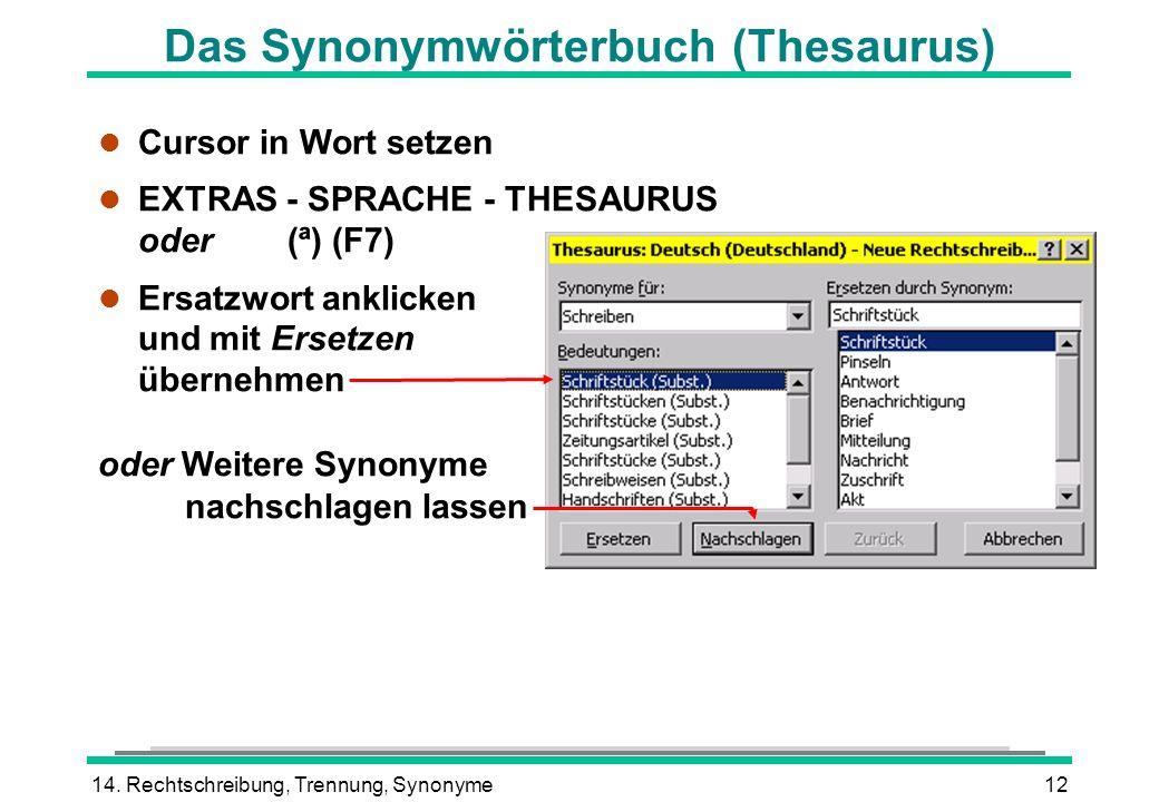 Das Synonymwörterbuch (Thesaurus)