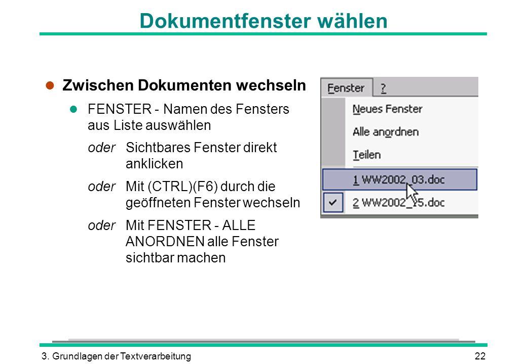 Dokumentfenster wählen