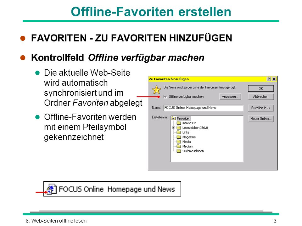 Offline-Favoriten erstellen