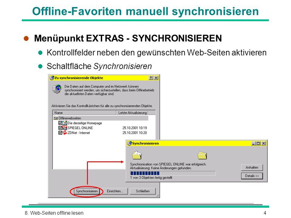 Offline-Favoriten manuell synchronisieren