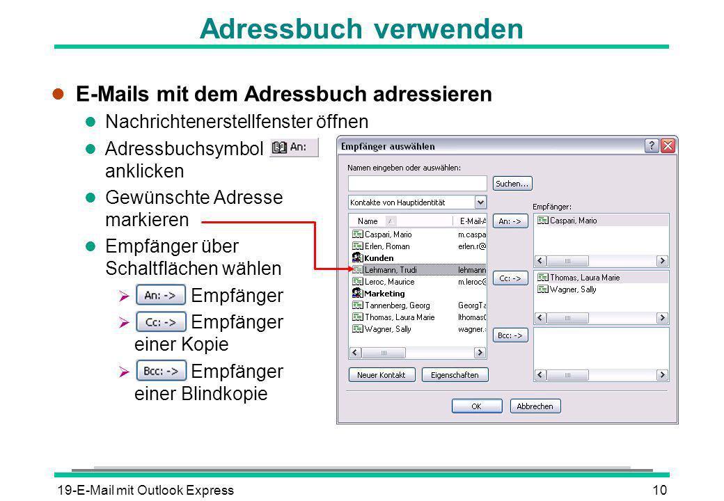 Adressbuch verwenden E-Mails mit dem Adressbuch adressieren