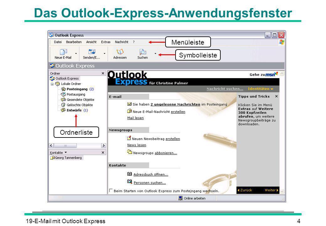 Das Outlook-Express-Anwendungsfenster