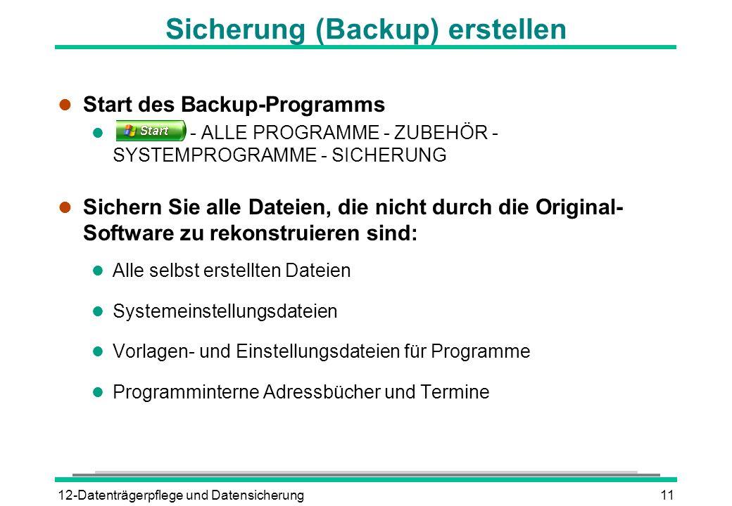 Sicherung (Backup) erstellen