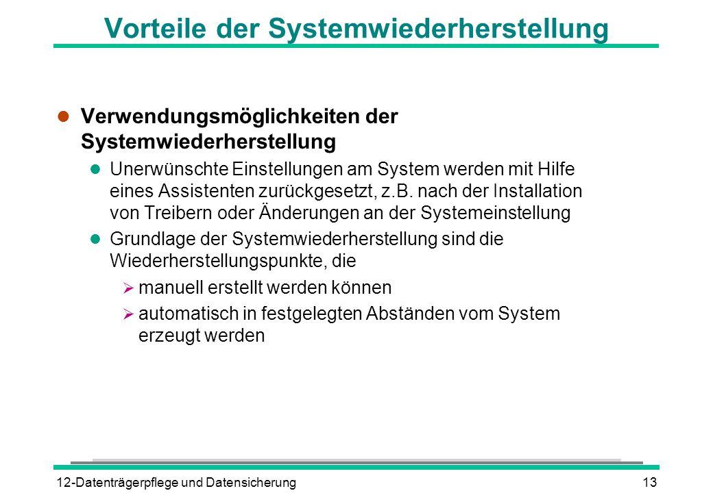 Vorteile der Systemwiederherstellung