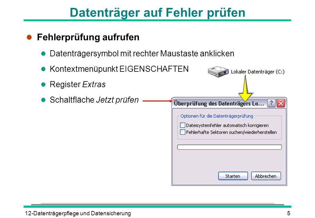 Datenträger auf Fehler prüfen