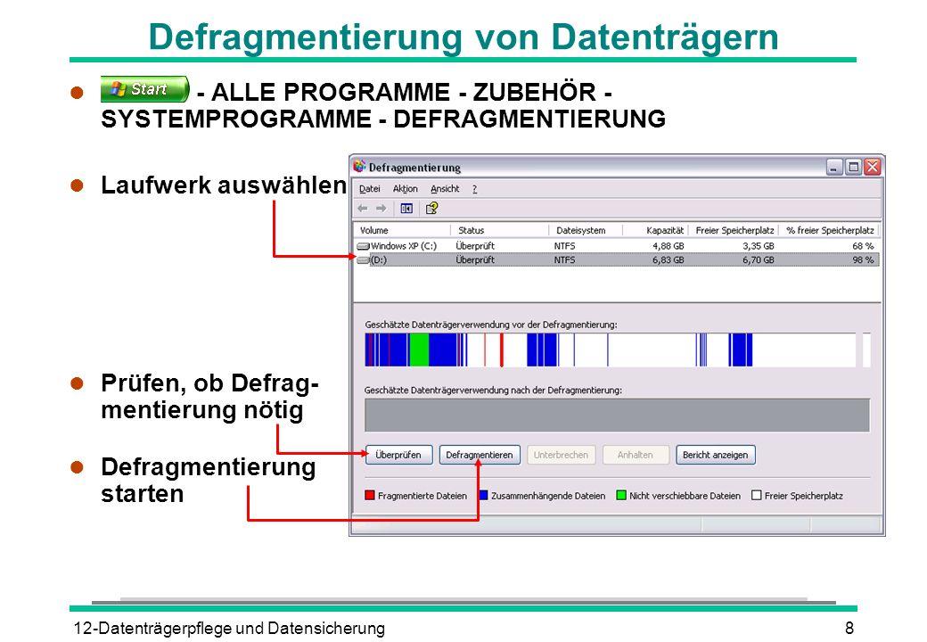 Defragmentierung von Datenträgern