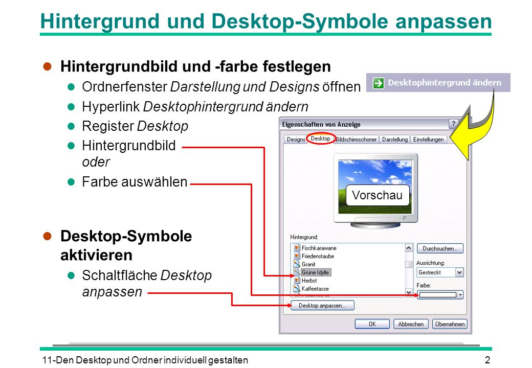 Hintergrund und Desktop-Symbole anpassen