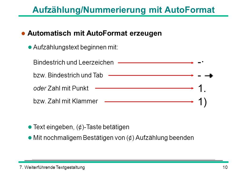 Aufzählung/Nummerierung mit AutoFormat