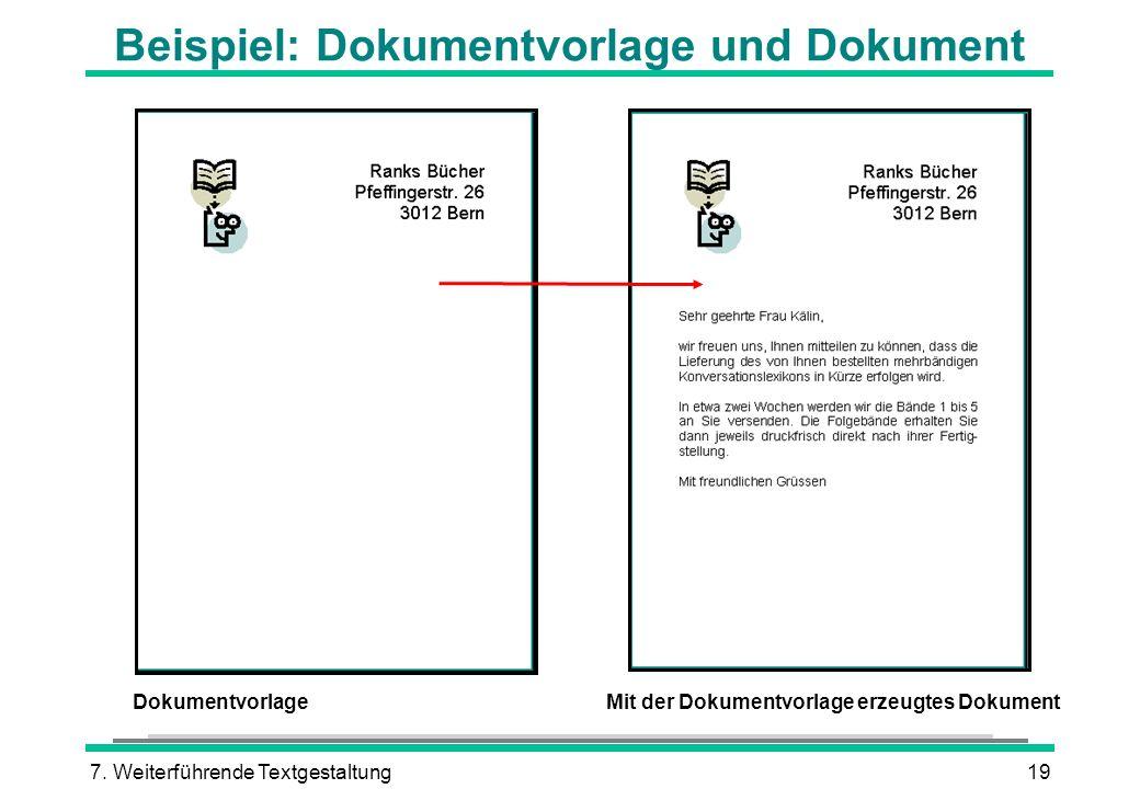 Beispiel: Dokumentvorlage und Dokument