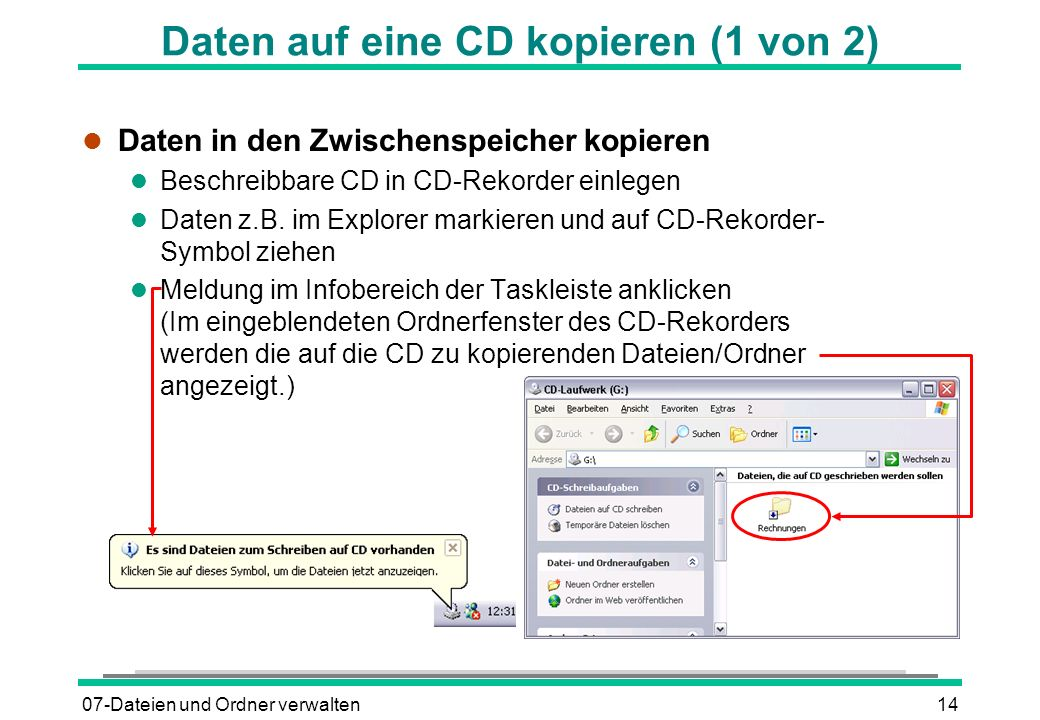 Daten auf eine CD kopieren (1 von 2)