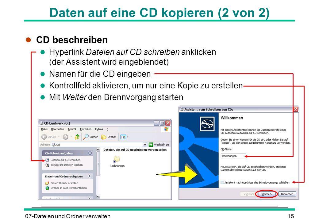 Daten auf eine CD kopieren (2 von 2)