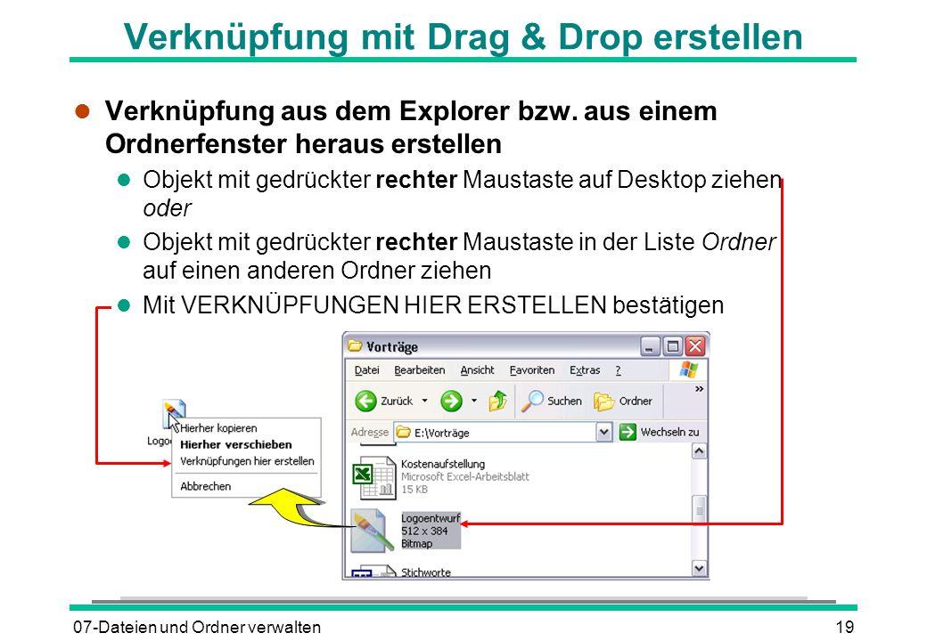 Verknüpfung mit Drag & Drop erstellen