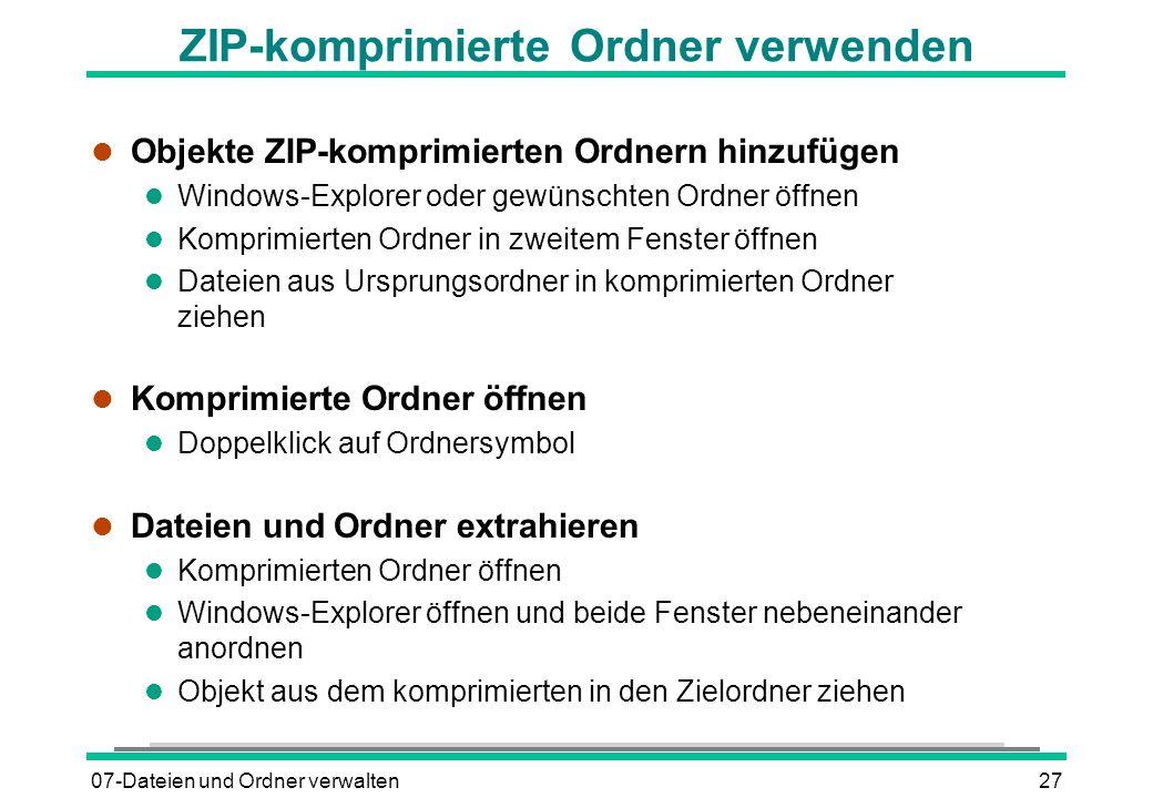 ZIP-komprimierte Ordner verwenden