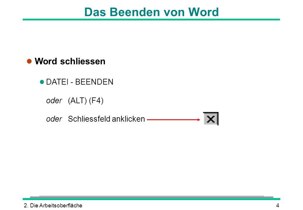 Das Beenden von Word Word schliessen DATEI - BEENDEN oder (ALT) (F4)