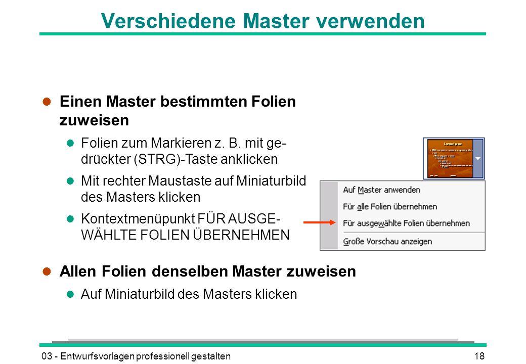 Verschiedene Master verwenden