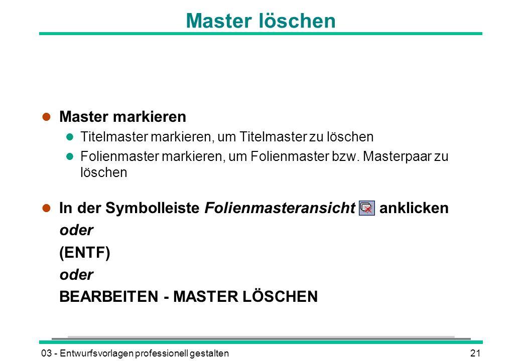 Master löschen Master markieren