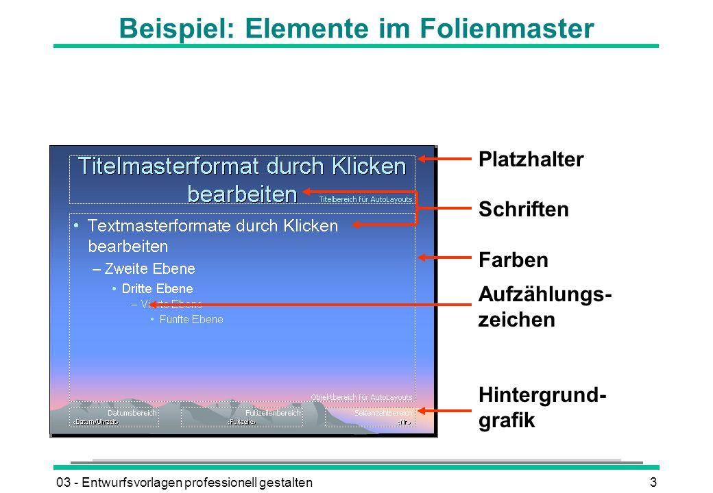 Beispiel: Elemente im Folienmaster