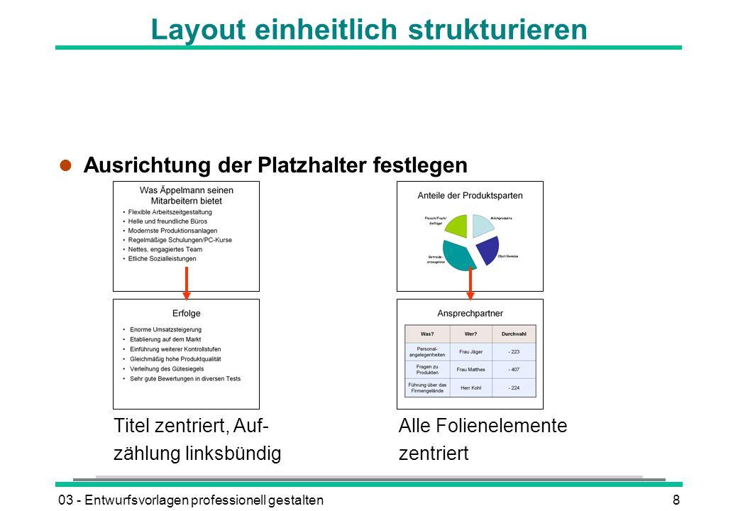 Layout einheitlich strukturieren