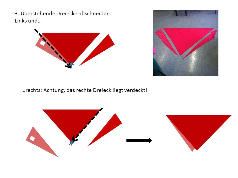 3. Überstehende Dreiecke abschneiden: