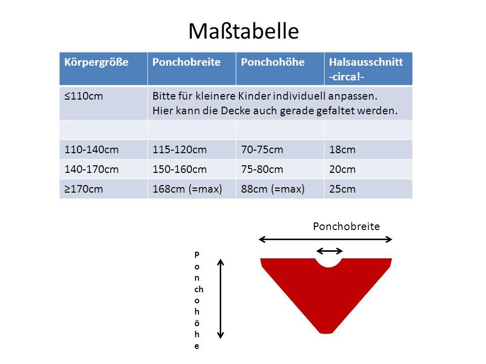 Maßtabelle Körpergröße Ponchobreite Ponchohöhe Halsausschnitt circa!-