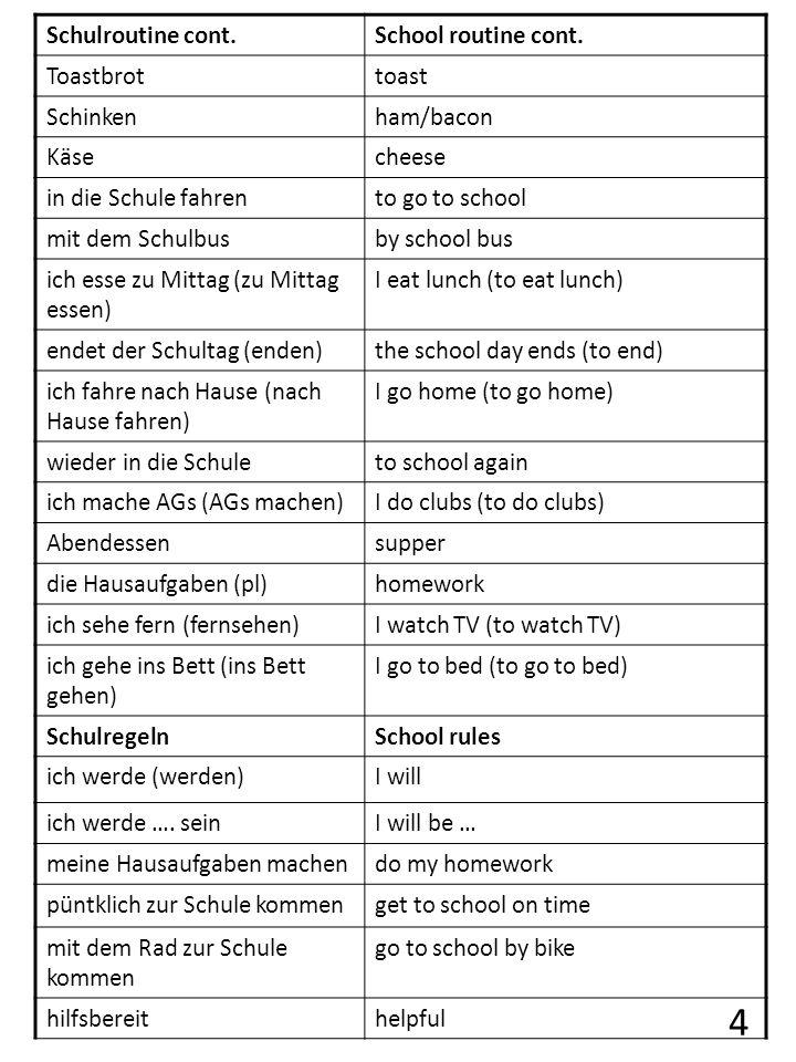 4 Schulroutine cont. School routine cont. Toastbrot toast Schinken