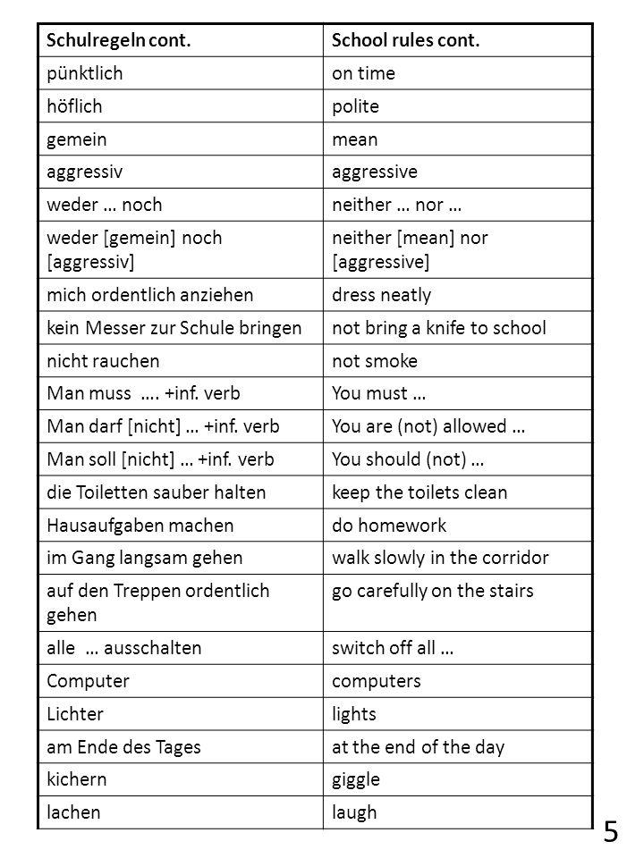 5 Schulregeln cont. School rules cont. pünktlich on time höflich