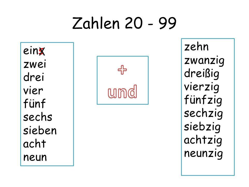 + und Zahlen 20 - 99 X zehn eins zwanzig zwei dreißig drei vierzig