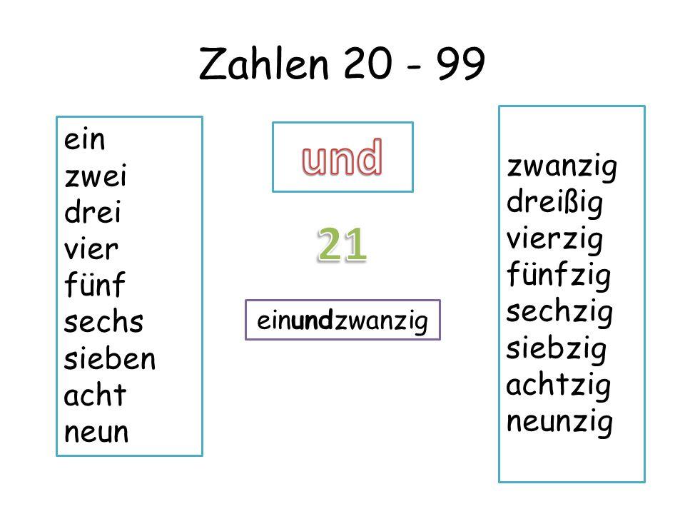 und 21 Zahlen 20 - 99 ein zwanzig zwei dreißig drei vierzig vier