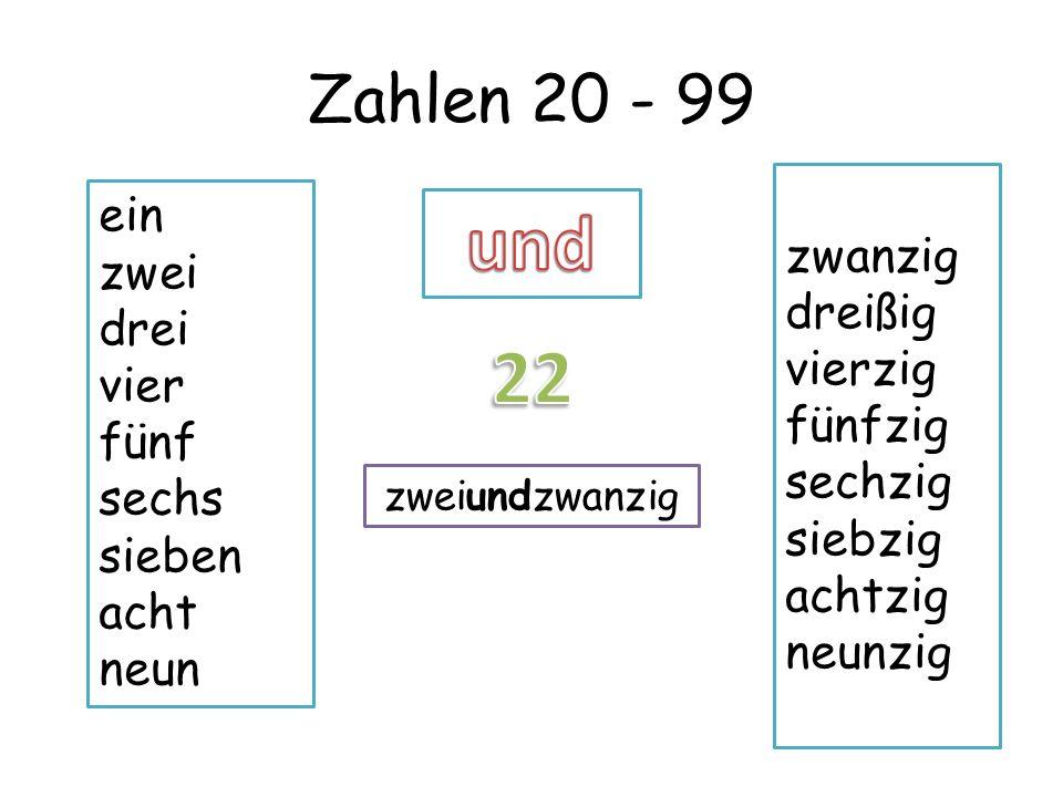und 22 Zahlen 20 - 99 ein zwanzig zwei dreißig drei vierzig vier