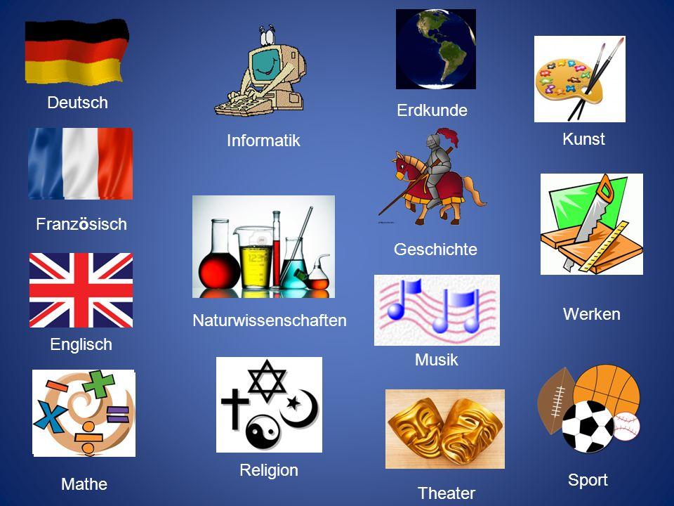 Deutsch Erdkunde. Informatik. Kunst. Französisch. Geschichte. Werken. Naturwissenschaften. Englisch.