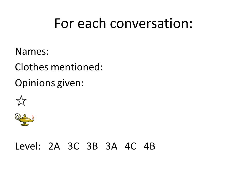 For each conversation: