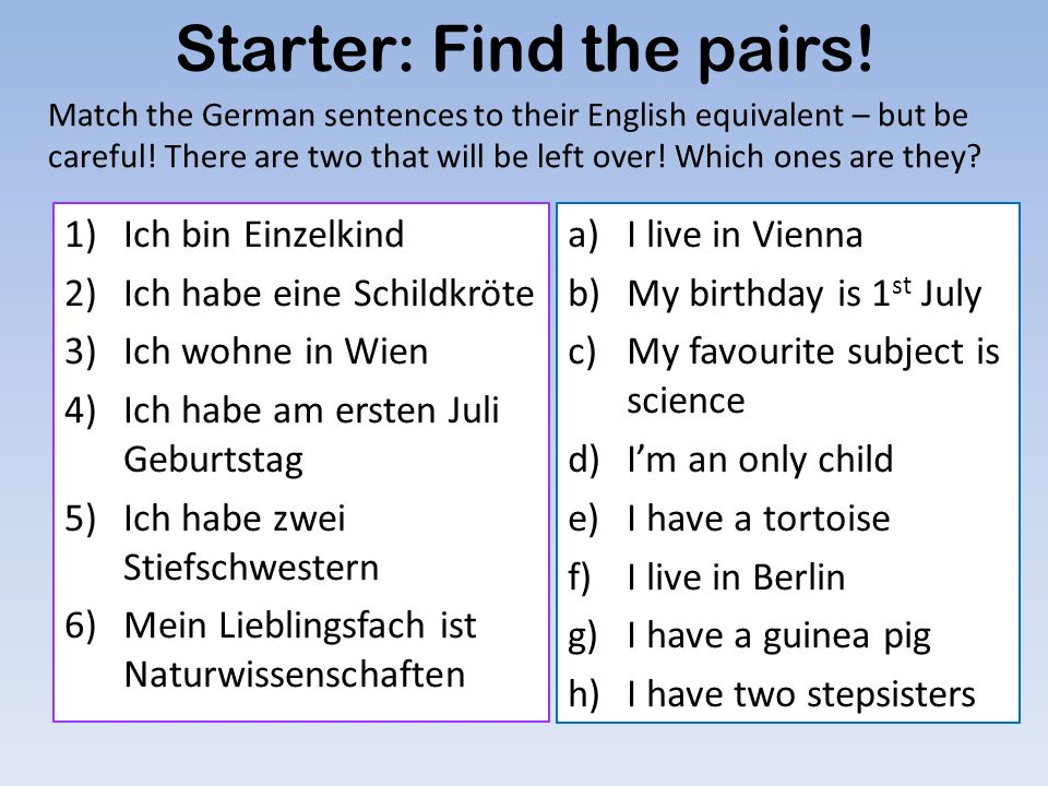 Starter: Find the pairs!