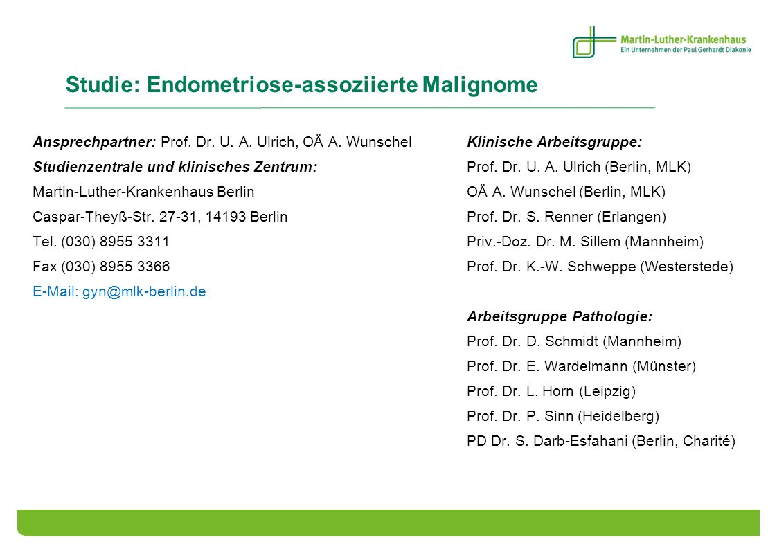 Studie: Endometriose-assoziierte Malignome