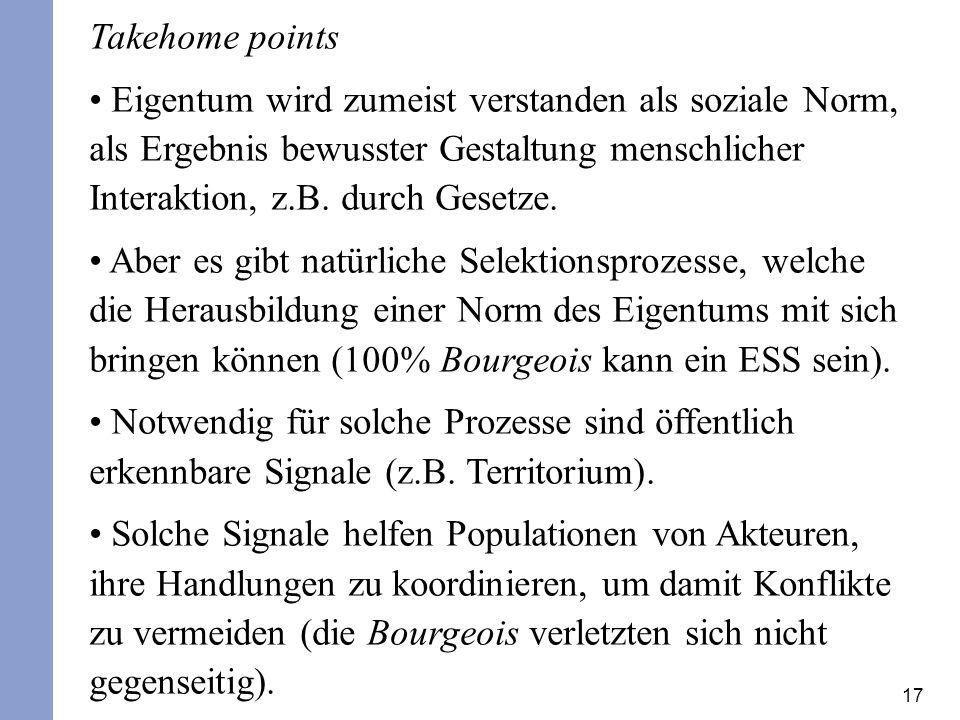 Takehome points Eigentum wird zumeist verstanden als soziale Norm, als Ergebnis bewusster Gestaltung menschlicher Interaktion, z.B. durch Gesetze.
