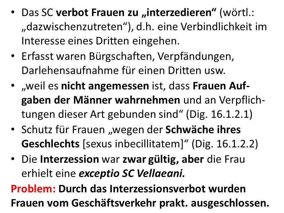 """Das SC verbot Frauen zu """"interzedieren (wörtl"""