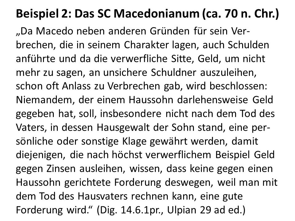 Beispiel 2: Das SC Macedonianum (ca. 70 n. Chr.)
