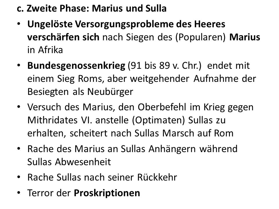 c. Zweite Phase: Marius und Sulla