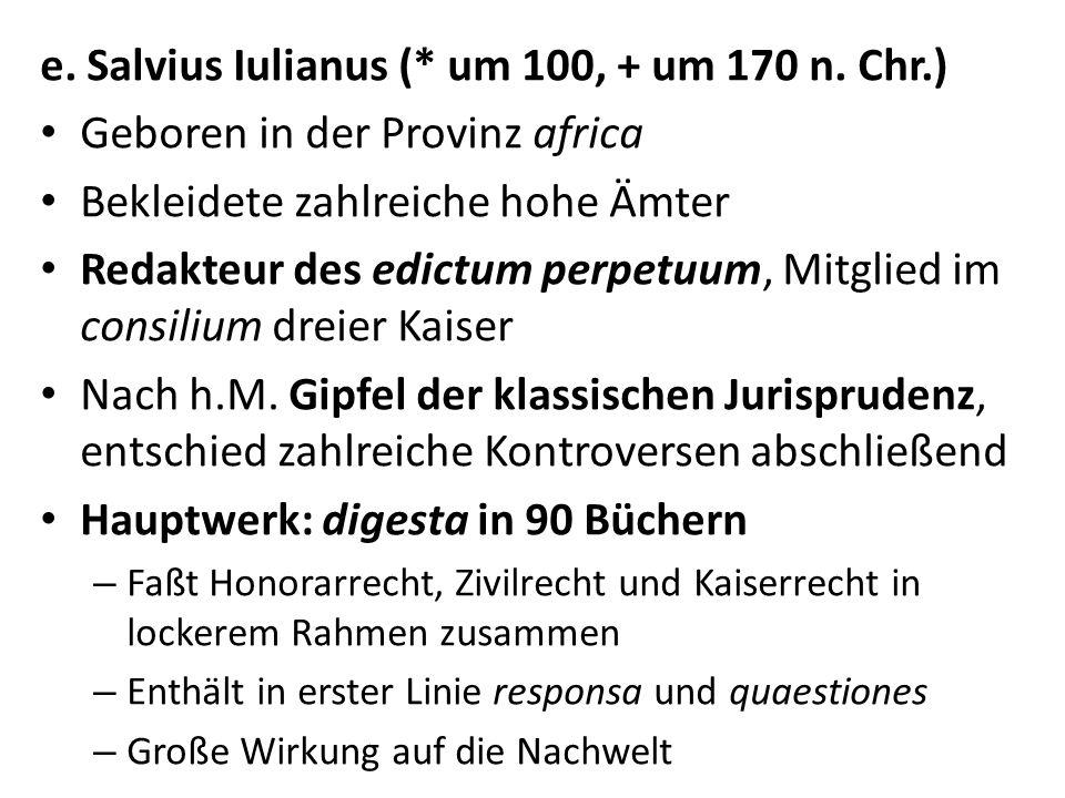 e. Salvius Iulianus (* um 100, + um 170 n. Chr.)