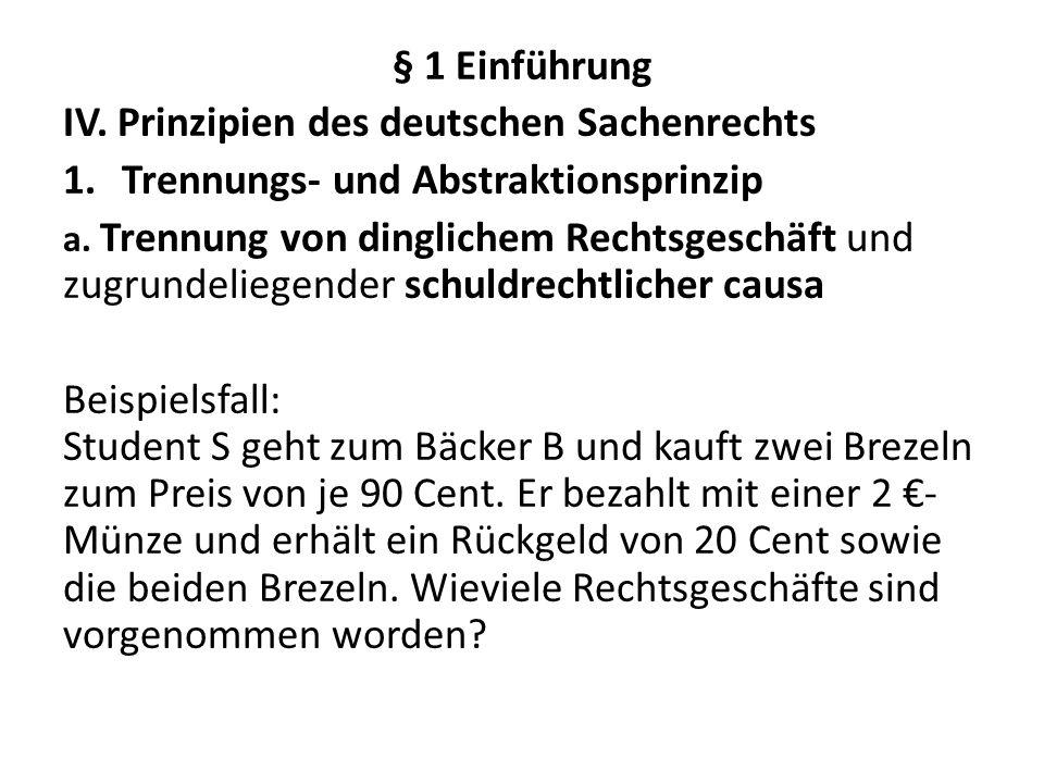 IV. Prinzipien des deutschen Sachenrechts