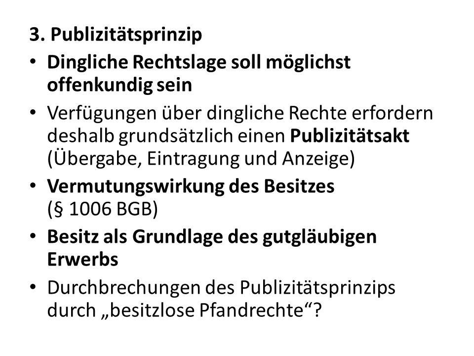 3. Publizitätsprinzip Dingliche Rechtslage soll möglichst offenkundig sein.