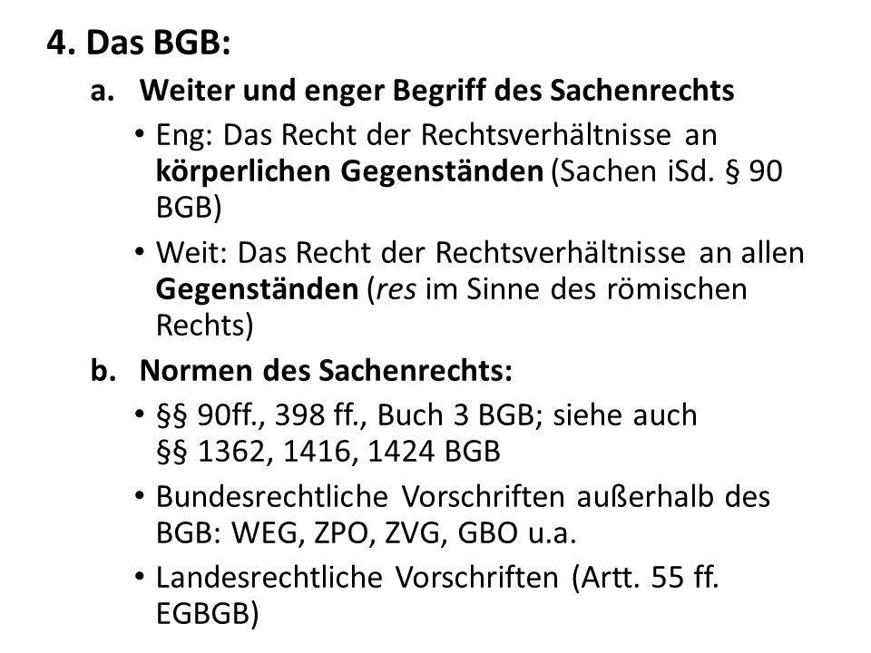 4. Das BGB: Weiter und enger Begriff des Sachenrechts