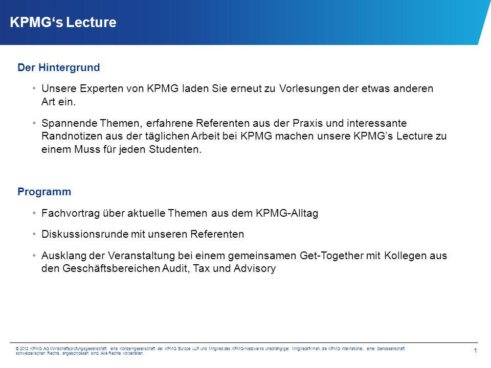 KPMG's Lecture Termine und Themen Interessiert