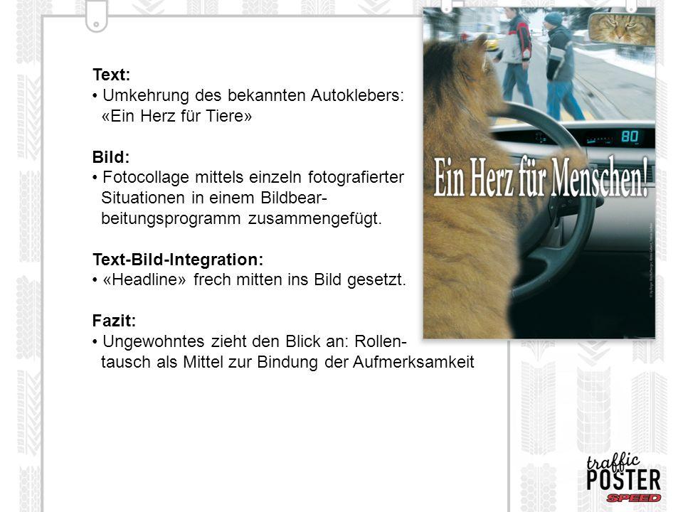 Umkehrung des bekannten Autoklebers: «Ein Herz für Tiere» Bild: