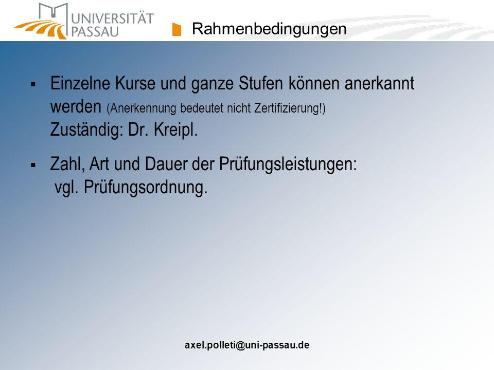 Zahl, Art und Dauer der Prüfungsleistungen: vgl. Prüfungsordnung.