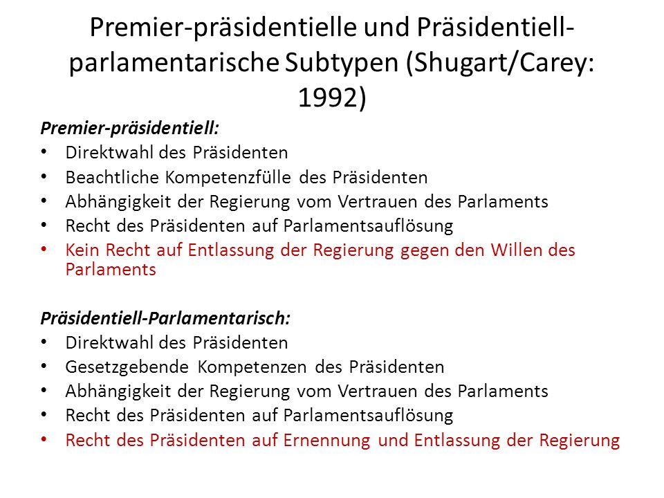 Premier-präsidentielle und Präsidentiell-parlamentarische Subtypen (Shugart/Carey: 1992)