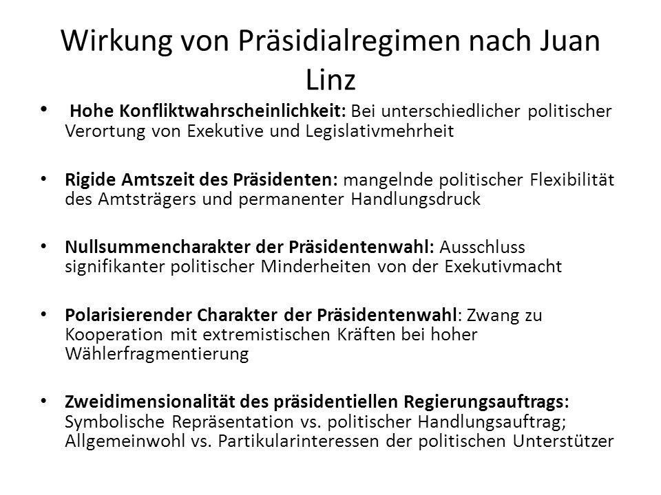 Wirkung von Präsidialregimen nach Juan Linz